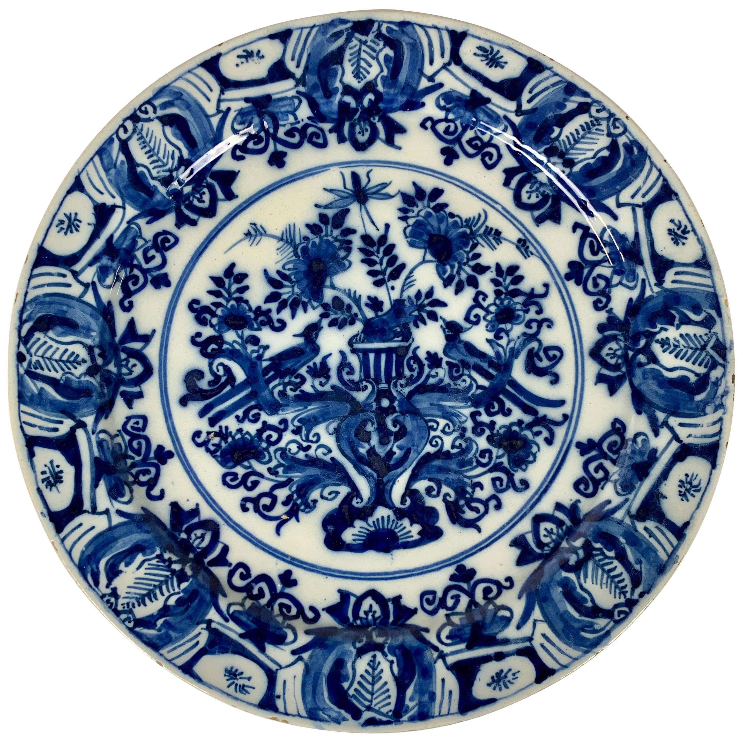 Blue and White Dutch Delft Charger Hand-Painted, Circa 1770