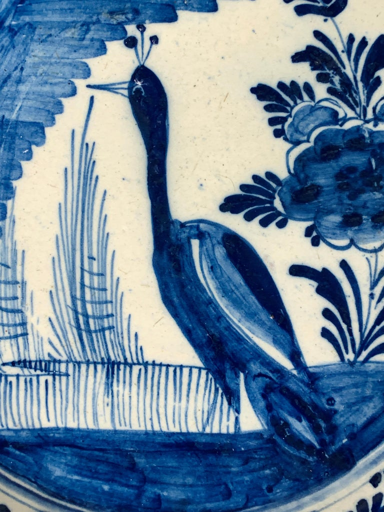 Rococo Blue and White Dutch Delft Charger Hand-Painted in the 18th Century For Sale