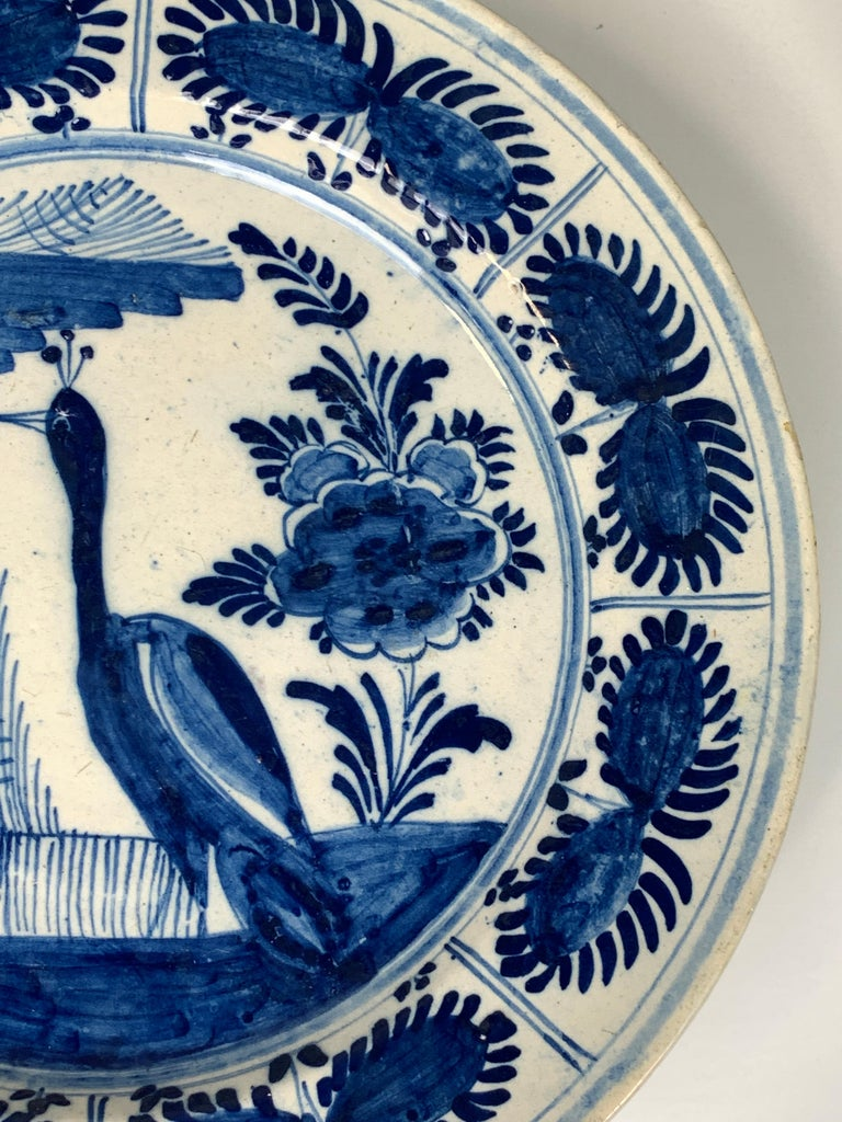 Blue and White Dutch Delft Charger Hand-Painted in the 18th Century For Sale 1