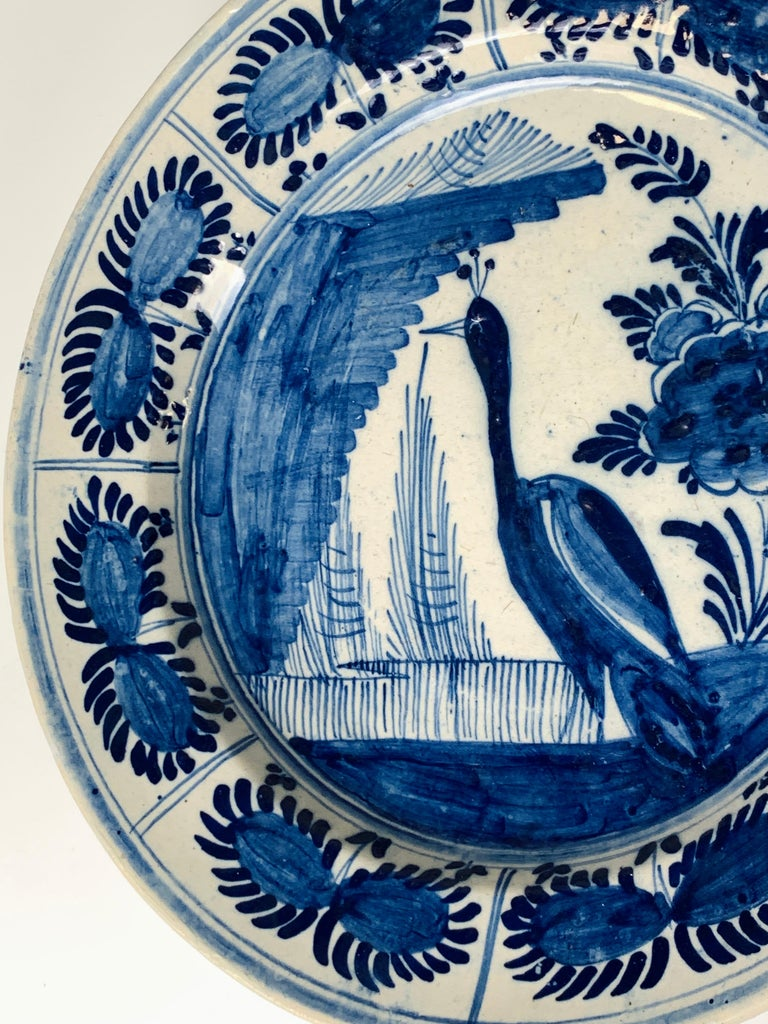 Blue and White Dutch Delft Charger Hand-Painted in the 18th Century For Sale 2