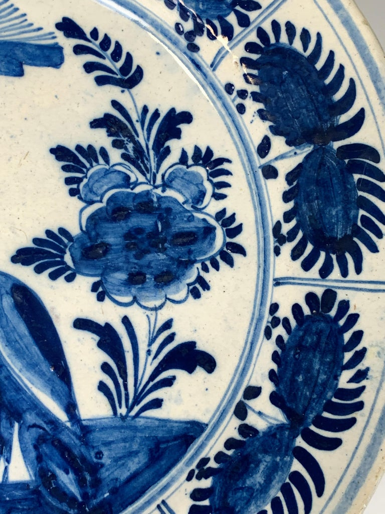 Blue and White Dutch Delft Charger Hand-Painted in the 18th Century For Sale 3