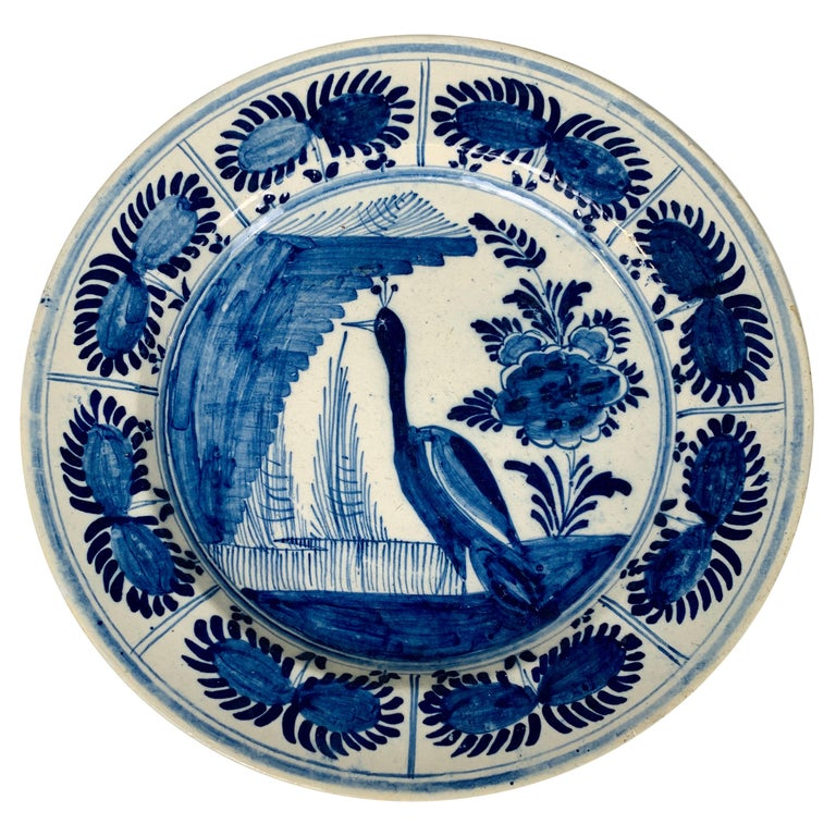 Blue and White Dutch Delft Charger Hand-Painted in the 18th Century For Sale