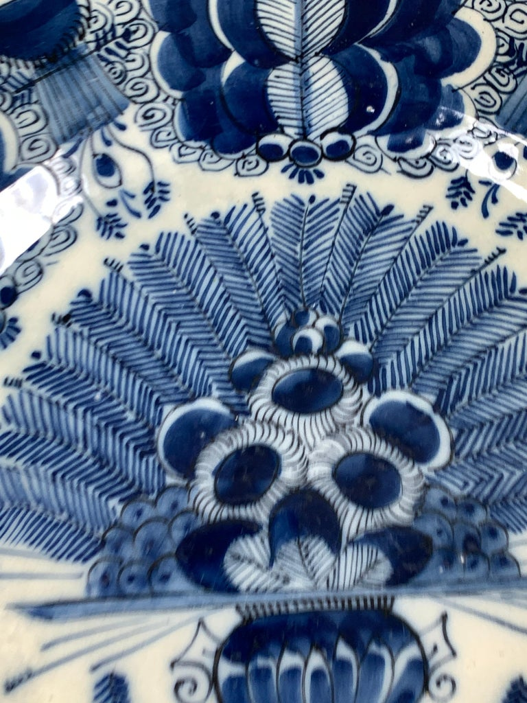 Rococo Blue and White Dutch Delft Charger Made, Circa 1780 For Sale