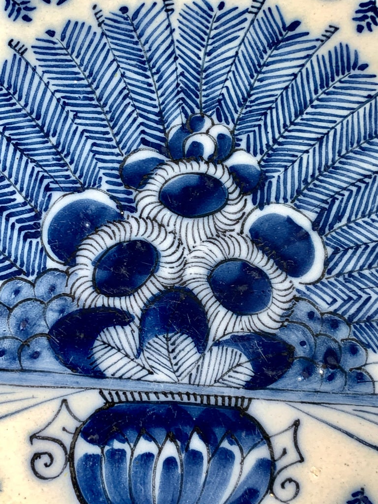 Hand-Painted Blue and White Dutch Delft Charger Made, Circa 1780 For Sale