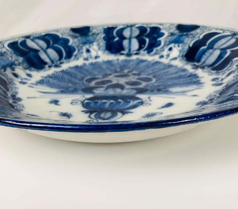 18th Century Blue and White Dutch Delft Charger Made, Circa 1780 For Sale