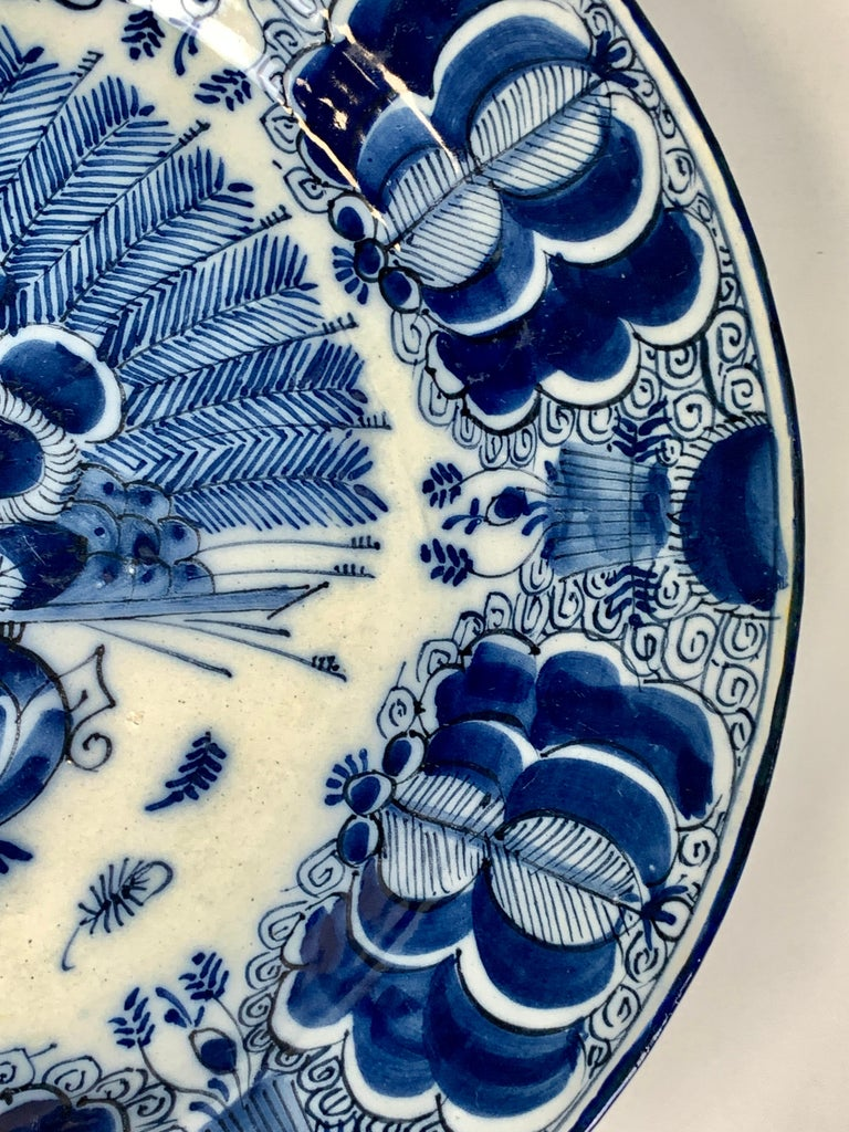 Blue and White Dutch Delft Charger Made, Circa 1780 For Sale 1