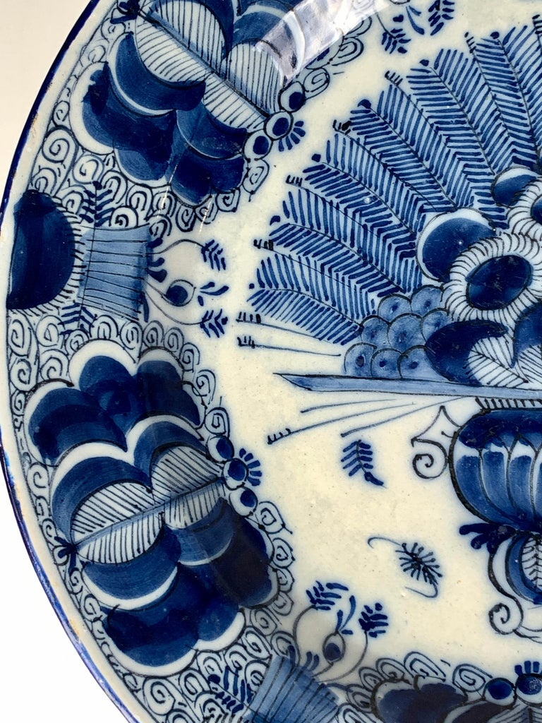 Blue and White Dutch Delft Charger Made, Circa 1780 For Sale 2