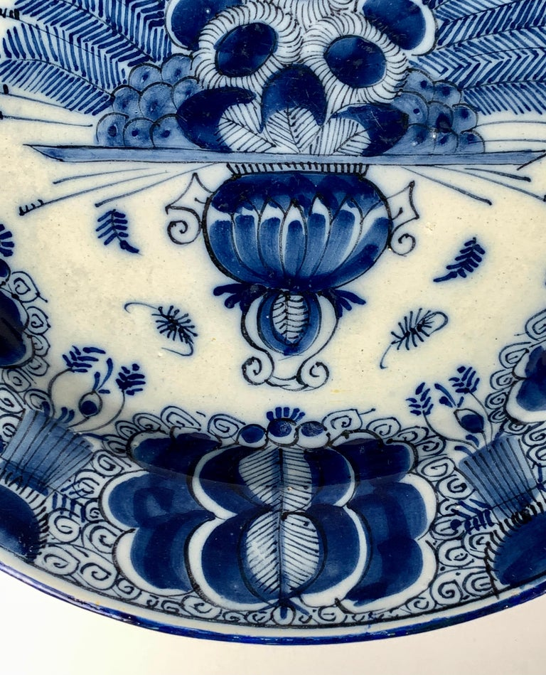 Blue and White Dutch Delft Charger Made, Circa 1780 For Sale 3