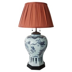 Blue and White Dutch Delft Chinoiserie Baluster Vase Table Lamp, circa 1670