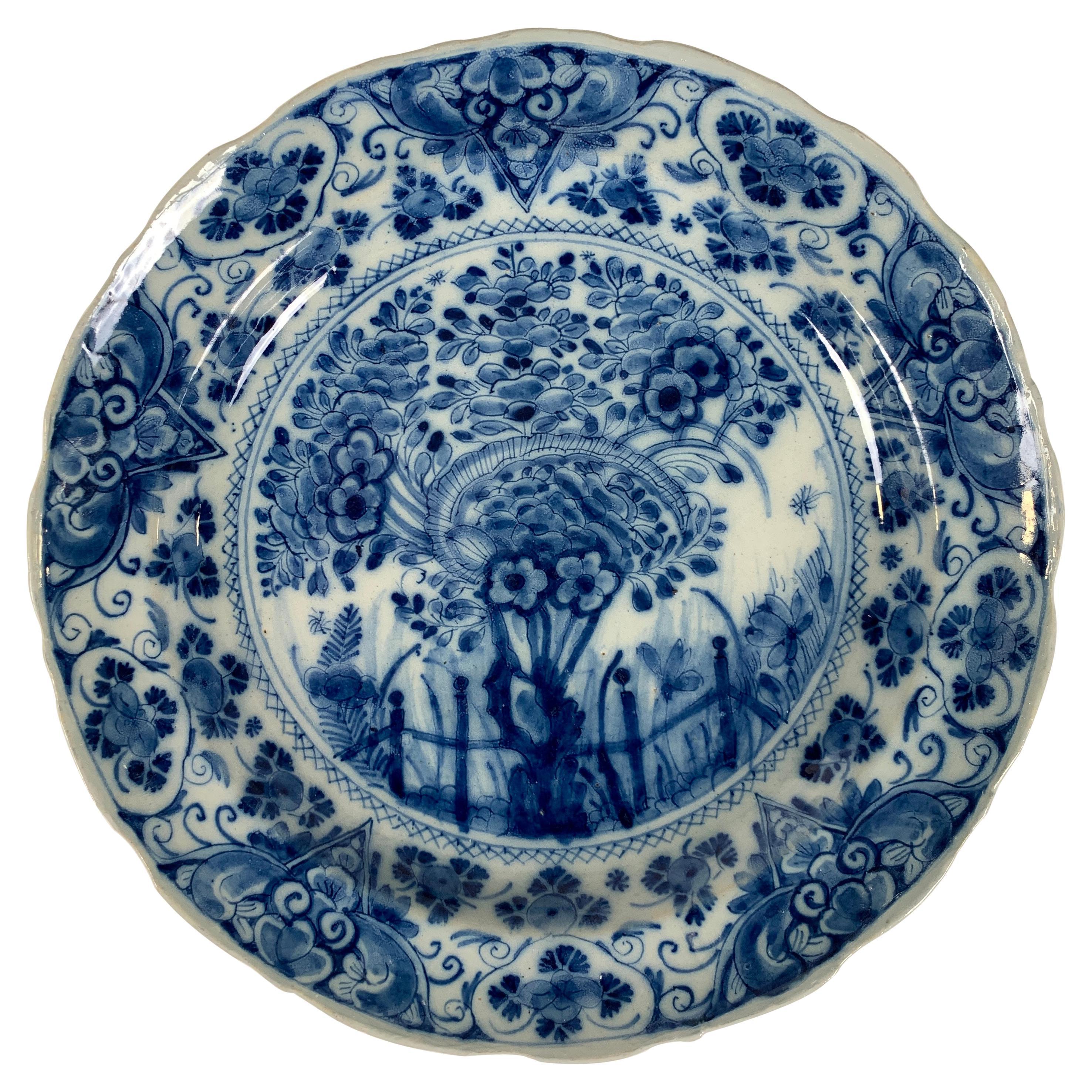 Blue and White Dutch Delft Dish Made, Circa 1760