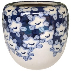 Blue and White Earthenware Japanese Hibachi with Hand Painted Plum Blooms, 1950s