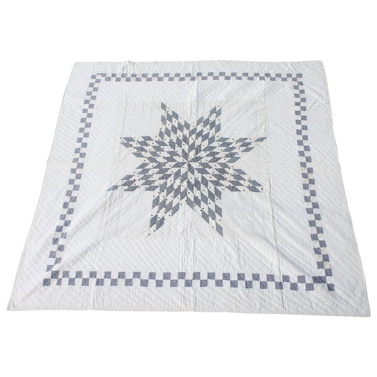 Blue and White Eight Point Star Quilt For Sale