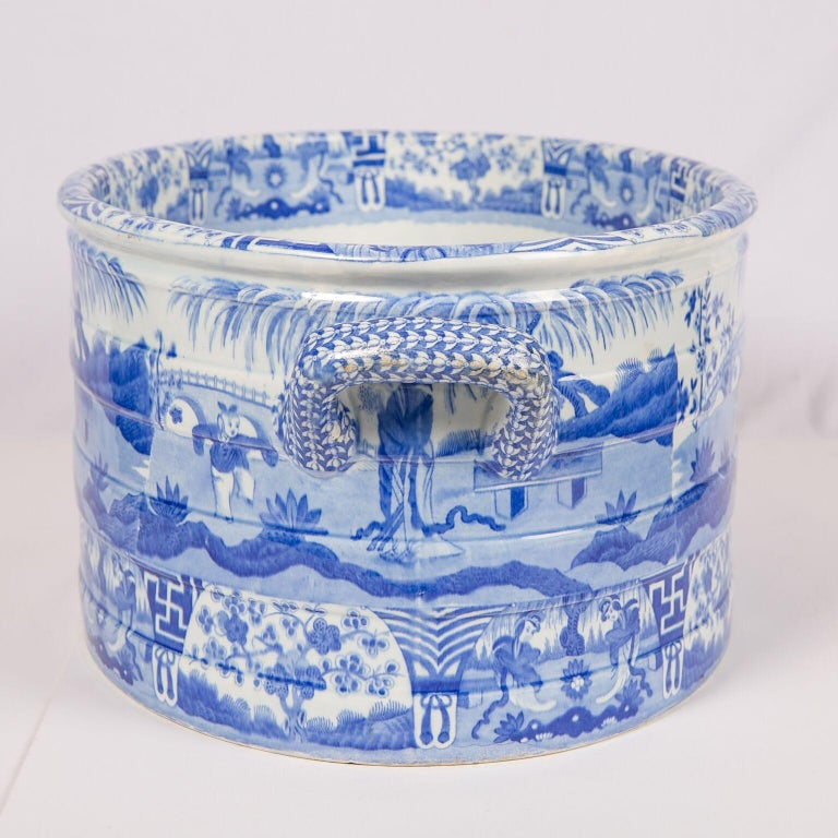 Chinoiserie Blue and White Footbath Made by Spode For Sale