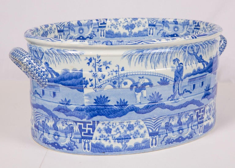English Blue and White Footbath Made by Spode For Sale