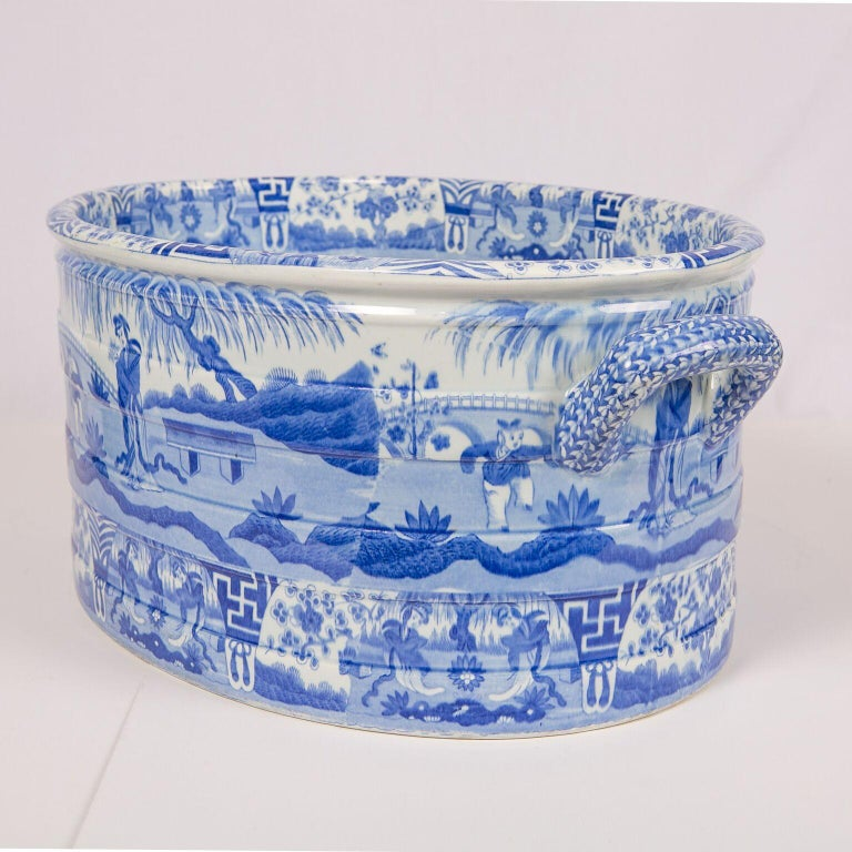 19th Century Blue and White Footbath Made by Spode For Sale