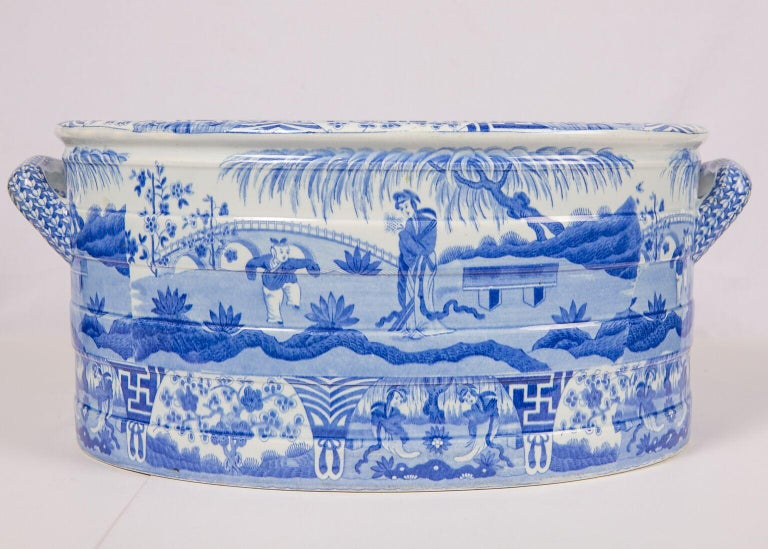 Earthenware Blue and White Footbath Made by Spode For Sale