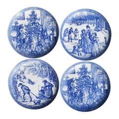 Blue and White Georgian Ceramic Christmas Decorative Spode Plates, Set of Four
