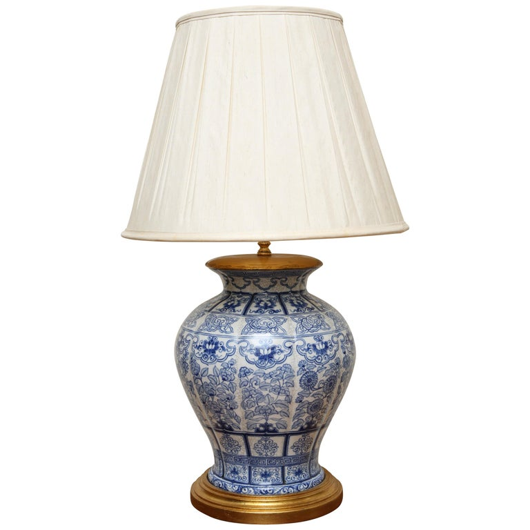 Blue And White Ginger Jar Lamp By Mario Buatta For Sale At