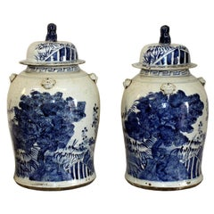 Blue and White Ginger Jars, a Pair