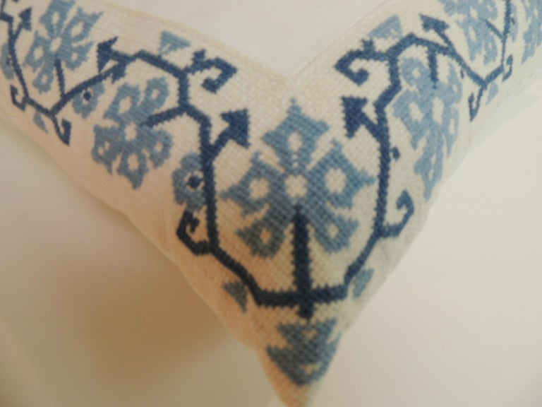 Bohemian Blue and White Greek Isle Embroidered Decorative Pillows For Sale