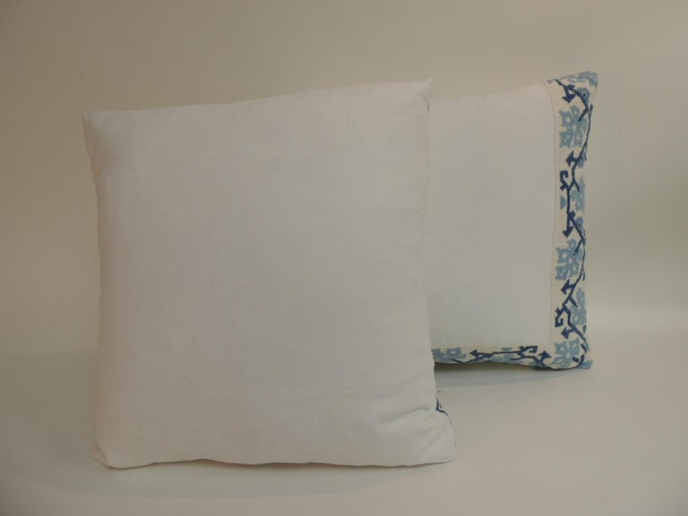 Hand-Crafted Blue and White Greek Isle Embroidered Decorative Pillows For Sale