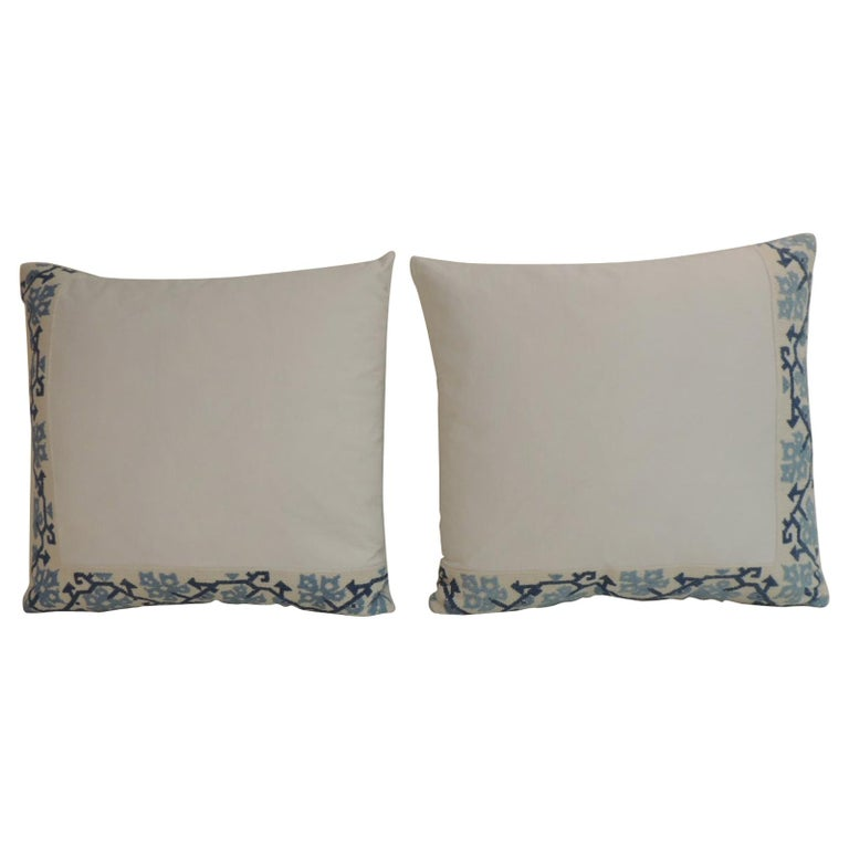 Blue and White Greek Isle Embroidered Decorative Pillows For Sale