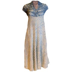 Blue and White Hand knitted Dress