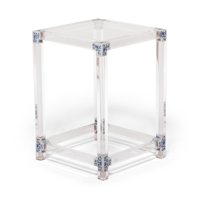 Chinese Blue and White Invisible Side Table by July Zhou For Sale