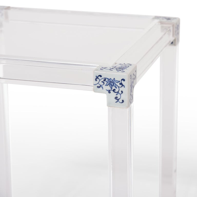 Blue and White Invisible Side Table by July Zhou In Excellent Condition For Sale In Chicago, IL