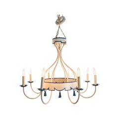 Blue and White Italian Tole Tassel Chandelier