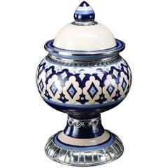 Blue and White Jar, Ceramic and White Metal 'Alpaca', Handmade with Cherubs