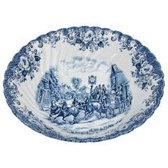 Blue and White Johnson Brothers Ceramic Ironstone Bowl Coaching Scene, England
