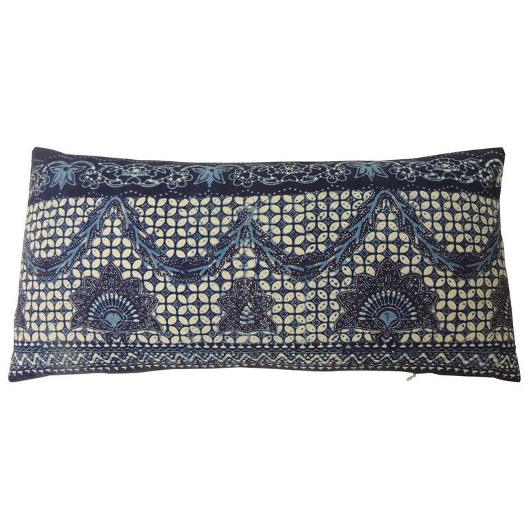 "Blue and White ""Kazak"" Long Bolster Decorative Pillow For Sale"