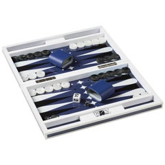 Blue and White Lacquered Backgammon Game Set