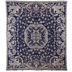 """Blue and White """"Liberty"""" Coverlet, Made in 1949 for Aurissa A. Gillett"""