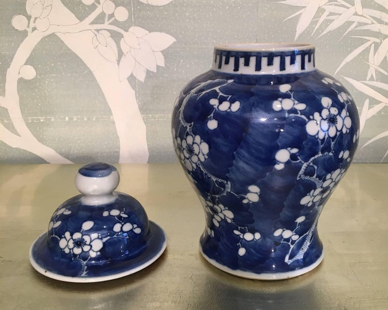 Hand-Painted Blue and White Lidded Jar For Sale