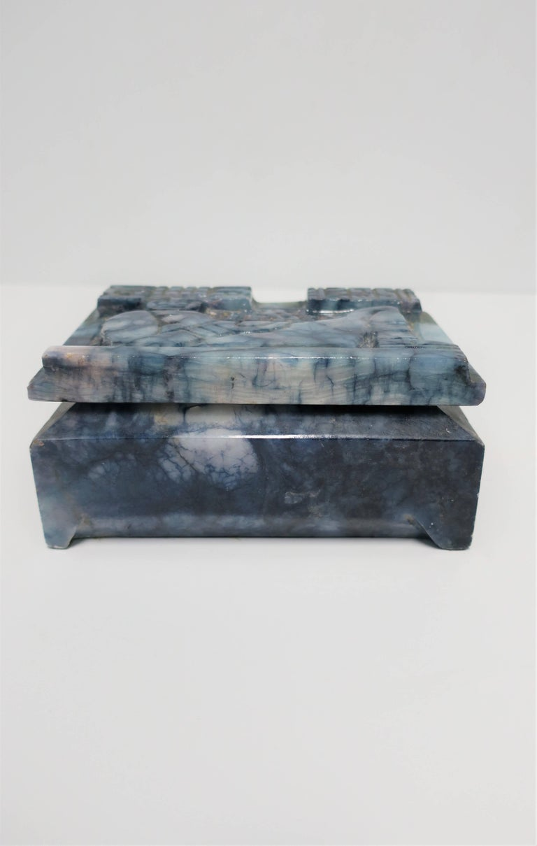 Blue and White Marble Carved Jewelry Box For Sale 6