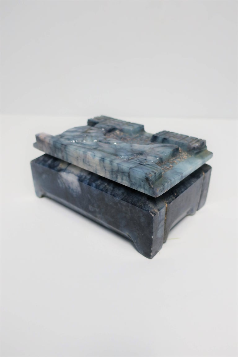 Blue and White Marble Carved Jewelry Box For Sale 7