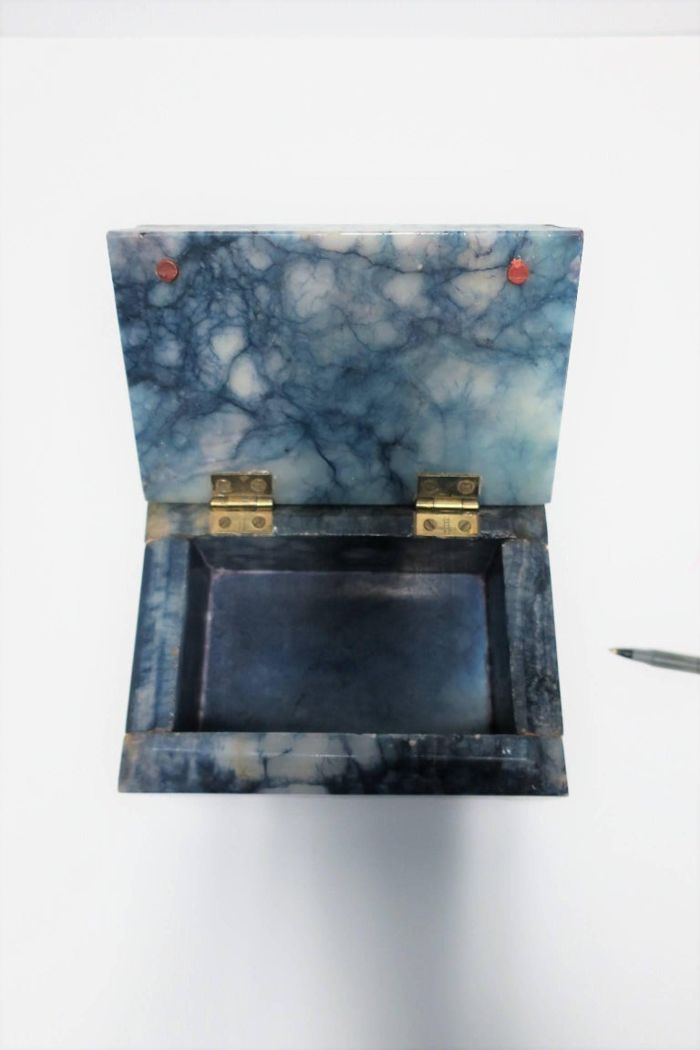 Blue and White Marble Carved Jewelry Box For Sale 13