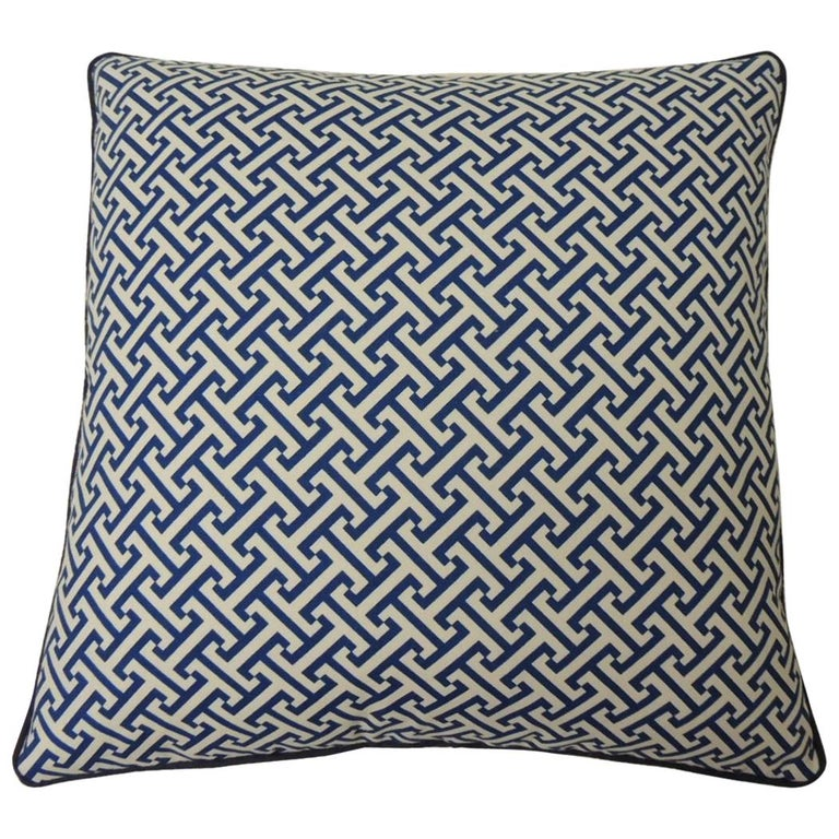 """Blue and White """"Mezze"""" Decorative Pillows Double-Sided For Sale"""