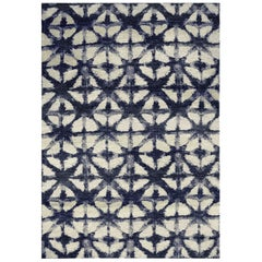 Blue and White Modern Handwoven Rug from Batik Collection by Gordian Rugs