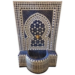 Blue and White Moroccan Mosaic Tile Fountain, Rafraf