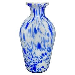 Blue and White Murano Art Glass Flower Vase, Italy, 1970s