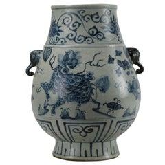 Blue and White Mystic Animal Vase