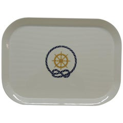Blue and White Nautical Theme Oval Serving Tray