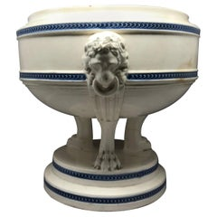 Blue and White Neoclassical Lion Mask Cachepot Tureen