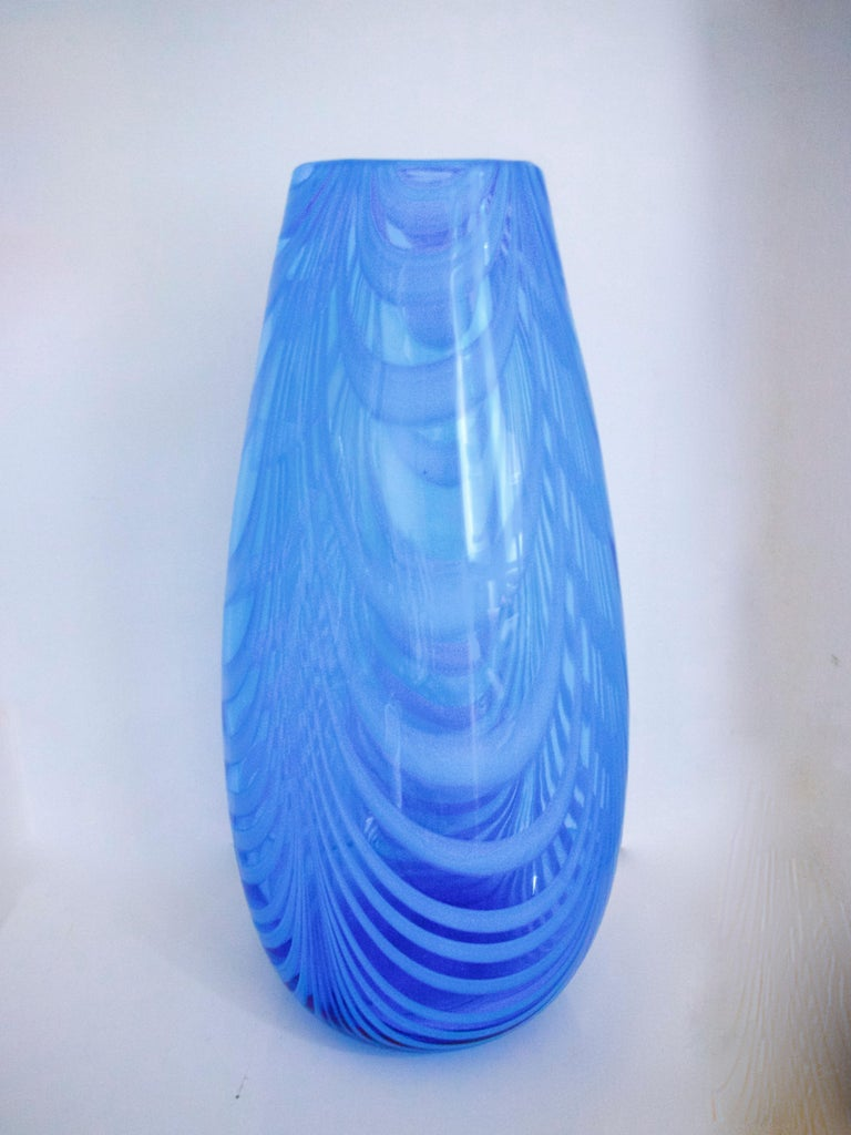 Italian Blue and White Opaline Empoli Glassware Florence, Pitcher and Vase, 1970s For Sale