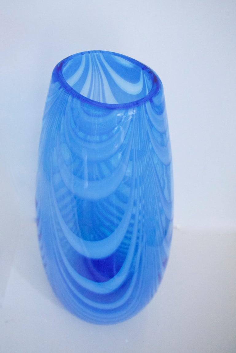 Blue and White Opaline Empoli Glassware Florence, Pitcher and Vase, 1970s In Good Condition For Sale In Halstead, GB