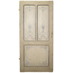 Blue and White Painted Antique Door from Lombardy, Italy circa 1850