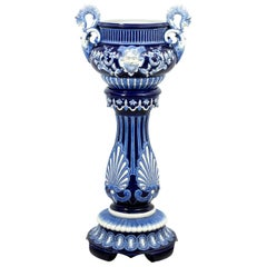 Blue and White Painted Majolica Urn on Stand